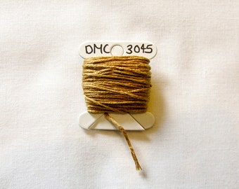 Soft gold embroidery thread,  DMC 3045, stranded embroidery floss, cross stitch supplies, stranded cotton