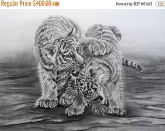 "20% off Tiger Cubs, Original Pencil Drawing, Animal Art, Home Decor 16""x 13"" Tiger cub Art, Tiger Cub Drawing"
