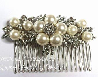 Bridal Hair Comb, Bridal Hairpiece, Pearl Hair Comb, Wedding hairpiece, Bridal Headdress