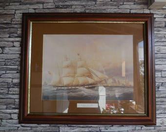 Vintage pair of framed sea scapes prints