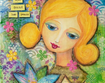 flower girl, flower painting, wall art, blonde hair, original art, colorful painting, dreamy girl, whimsical art, art on canvas, blue eyes