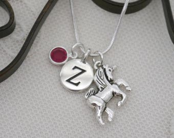 Unicorn Necklace, Unicorn Jewelry Gifts, Personalized Unicorn Necklace, Letter Birthstone, Silver Unicorn Necklace, Fairy Tale Gifts, Custom