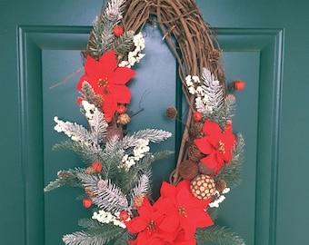 Oblong Christmas Poinsettia Wreath