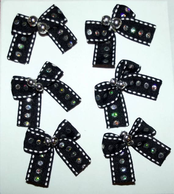 Puppy Bows ~6 black sequin silver beads EVERYDAY BOWS for boys Yorkie Maltese Shih Tzu ~Usa seller (fb81)