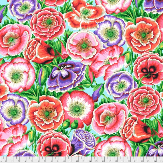 Pre-Order POPPY GARDEN Pink Philip Jacobs PWPJ095.PINK Kaffe Fassett Collective Sold in 1/2 yd increments Pre-Order Item