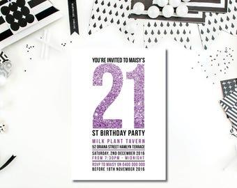 21st Birthday Invitation - 18th, 21st, 30th, All Ages Birthday Invitation - Glitter Invitation - Glitter - Custom Made Birthday Invitation