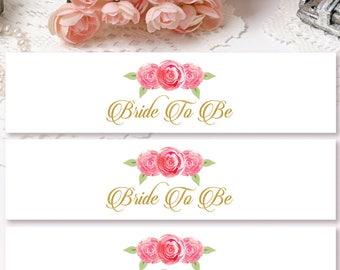 Bridal Shower Water Bottle Labels Floral, Bride To Be Water Bottle Labels, Vintage Water Bottle Labels, Bridal Shower Labels DIGITAL