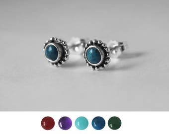 Gem with Beaded Rim Earring Studs in Sterling Silver