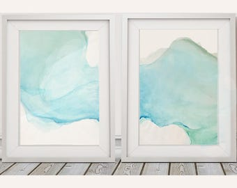 Nautical Art Blue Abstract Watercolor Paintings 1 or Set of 2 // Blue Green Turquoise Wall Art // Beachy Artwork // Gender Neutral Nursery