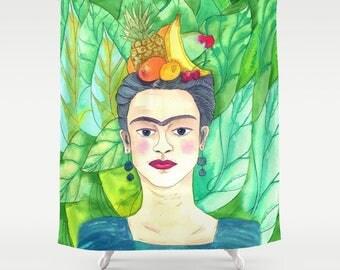 Frida Kahlo Shower Curtain -  Fruit and Frida Teal Green Aqua blue, artist tropical, foliage, eyebrows, decor bath
