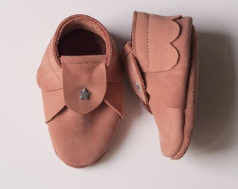 Baby booties, booties leather soft shoes t 22 nubuck marsala (6 to 12 months)