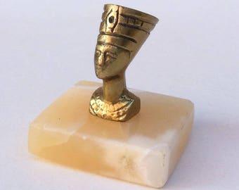 Vintage Egyptian Revival Brass & Alabaster Base Desk Paperweight