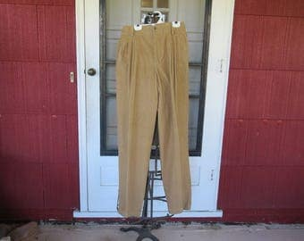 "Vintage 1980s NOS Liz Claiborne tan corduroy pants high waist narrow ankles original tags 100% cotton size 8 28"" waist 36"" hips (62417)"