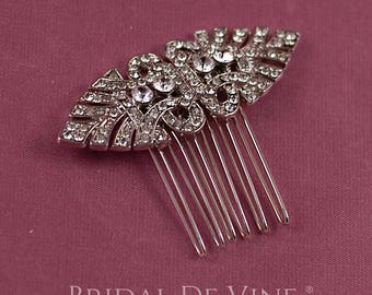 Small Art Deco Silver Bridal Hair Comb Accessory Vintage Style