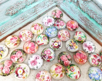 Decorative magnets - flower magnets - shabby chic magnets - refrigerator magnets - bulletin board magnets #M33