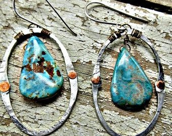 Riveting hoops by Weathered Soul, artisan, rustic, turquoise,copper, sterling,urban,cowgirl,gypsy,bohemian,high fashion, made in USA, bronze