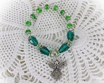 Bracelet Guardian Angel Beads Crystal Glass Angel Beads Bracelet Stretch