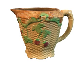 Japanese Majolica Basketweave Cherry Pitcher