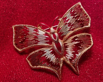 Gilt Metal Large Butterfly Brooch, Christian Dior©, 1970s Made in Germany by Henkel and Grosse