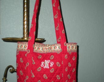 Vera Bradley Indiana Red Pattern Tote Bag Mint Condition Monogrammed SNP Retired Red Paisley Pattern