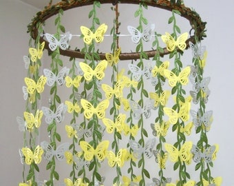 Baby Mobile Hanging,Butterfly Mobile,Girl,Boy,Nursery decor,Crib Mobile,Woodland,Kit,Bridal Baby Shower,Gift,Wedding Chandelier,Yellow,Gray