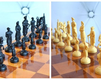 Vintage chess set, big chess board, Fathers Day, gift for him, retro chess set, Ukrainian Souvenir, Cossack Host, Collectibl Chess Set