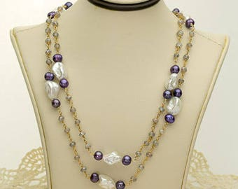 Mauve and Purple Pearl Necklace 87.5ct (B86)