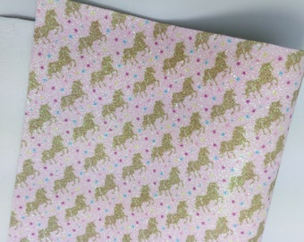 Unicorn Kingdom Fine Glitter Fabric Sheets 0.9mm thickness - Golden Unicorns on Pale Pink background - PRE ORDERS