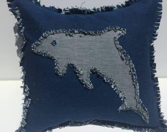 Beach Sea Life Dolphin Pillow Cover.  Denim Ocean Pillow Cover.  16 X 16.  Beach Tropical Decor. (Free Shipping)