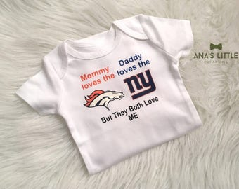 Custom House Divided Bodysuit (New York Giants - Broncos) But They Both Love Me