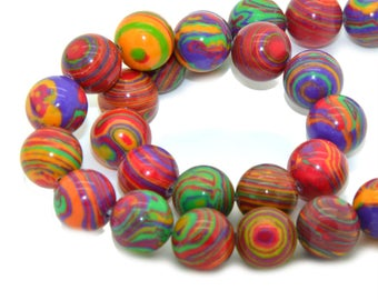 10 10mm multicolor dyed agate beads