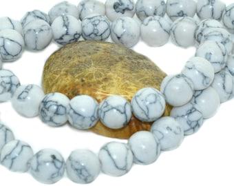 30 8 m grey veined white howlite beads
