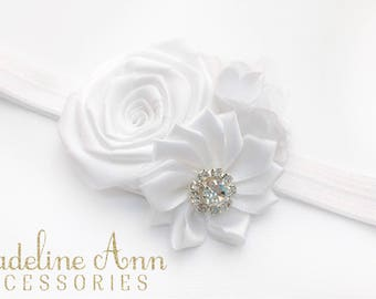 White Satin Baptism Headband, Baby Christening Headband, White Hair Accessory, Ivory Wedding Flower, Couture Headband, Flower Girl Headband