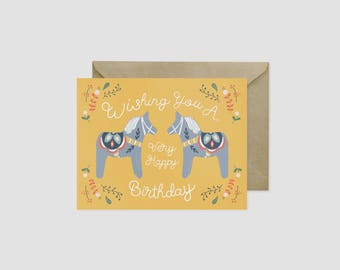 "Scandinavian Folk Art Dala Horse Happy Birthday Greeting Card, 4.5"" x 5.5"", A2"
