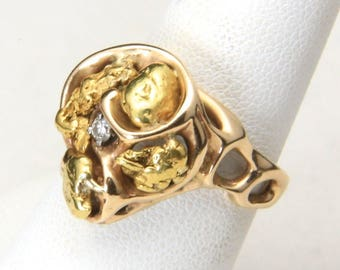 Vintage 14K Yellow Gold 4 Nuggets & Diamond Accent Ring Size 7.5