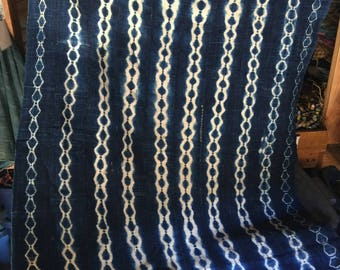 "Burikna faso Africa indigo textiles fabric 5ft 4"" 3ft 6"""