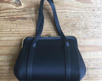 Vintage Black Satin Handbag Evening Purse 50s 60s