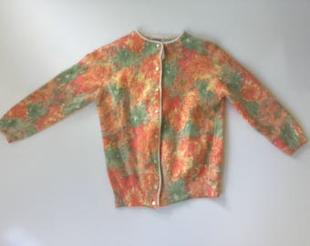 Vintage Angora and Lambswool Cardigan Sweater 1960s