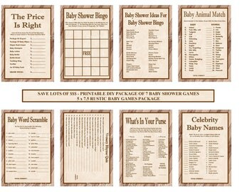 Rustic Baby Shower Game Package, Printable Rustic Baby Game, Western Baby Games, Rustic Game, Wood Baby Game - Printables 4 Less 0097