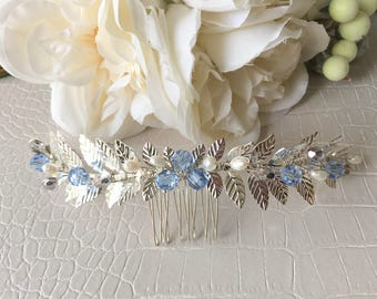 Something  Blue, Bridal Comb, Bridal Hair, Wedding Comb,Wedding Headpiece .Lead Comb , Silver Comb, Pearl Comb