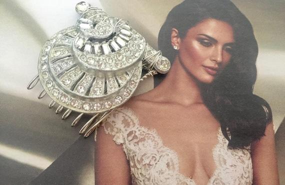 Bridal Comb, TRUE Vintage, Bridal Comb,WeddingHair , Bridal Headpiece, Wedding Headpiece,Hair Jewelry, Bridal Hair - ANATHALIE