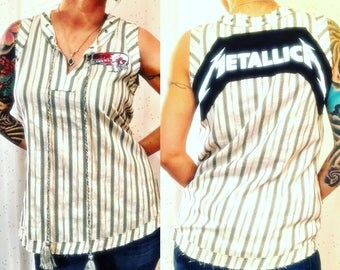Lightly used likenew Altered Metallica original tee,sleeveless/ boho hippie/ heavy metal shirt/ handmade metallica top/ damage case/ metal/