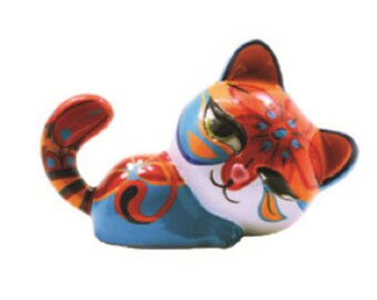 Statue of multicolored resin cat, for collection or decoration, length 6,7 inches