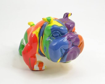 English Bulldog Dog Statue, resin. Height 7 inches. Multicolour model