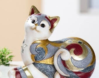 """Statue of """"Mykene"""" resin cat, length 5,9 Inches, for decoration or collection"""
