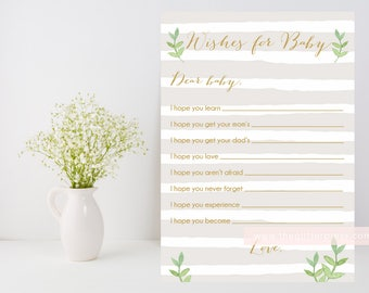 Neutral striped Wishes for baby Printable, beige gold baby boy shower, leafy green printable, downloadable file, DIY, INSTANT DOWNLOAD, 012
