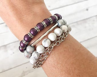 Women's Bead Bracelets, Stacking Bracelets, Bracelet Set, White Howlite, Silver Glass Beads, Purple Glass, Bar Jewelry, Gift Set, 8mm Beads