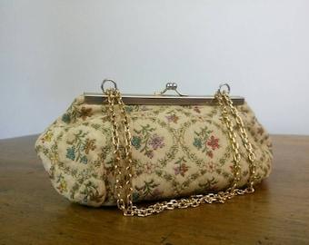 Vintage floral tapestry purse clutch bag