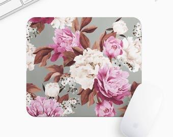 Floral Mouse Pad, Flower Mousepad, Rectangle or Round Circular, Gift mp0022