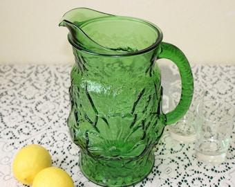 "Vtg 1975 Emerald Green Glass Pitcher ~ ""LIBBEY COUNTRY GARDENS Emerald Green Daisy"" Pattern by Libbey Rock Sharpe"